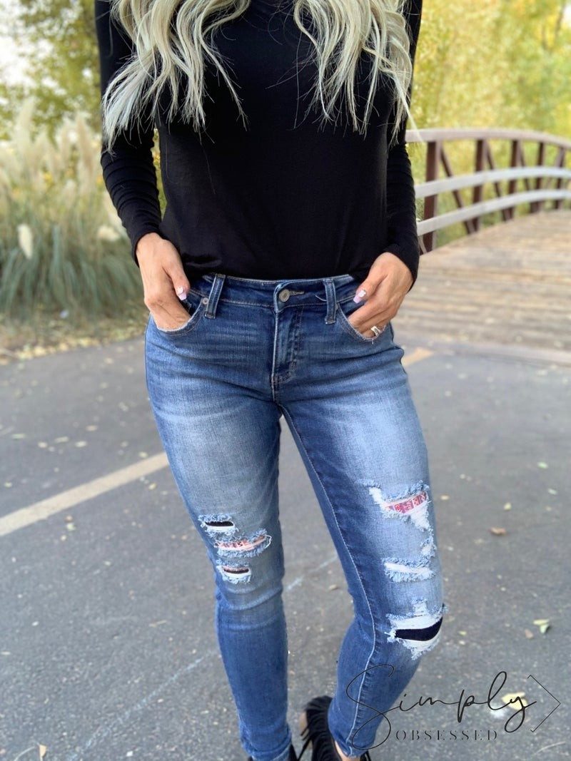KanCan- Gemma mid rise super skinny jeans with check patch