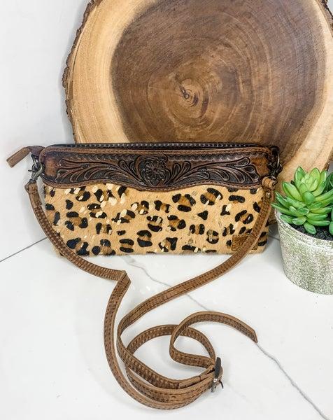 American Darling - Leather work cross body cheetah print bag