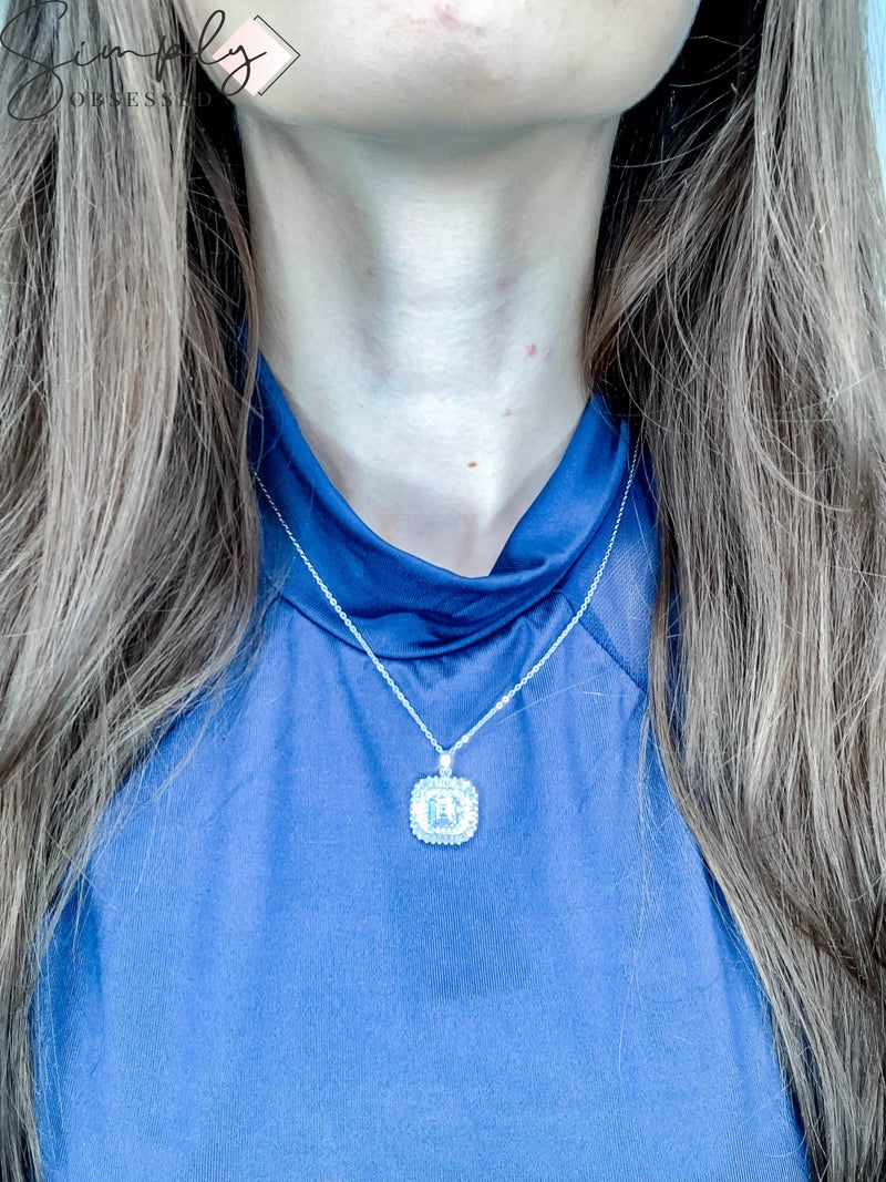 NYJ - Square Baguette Halo Necklace