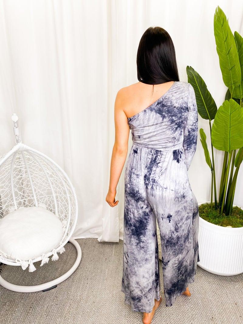 Veveret - Tie dye printed one shoulder wide pants jumpsuit