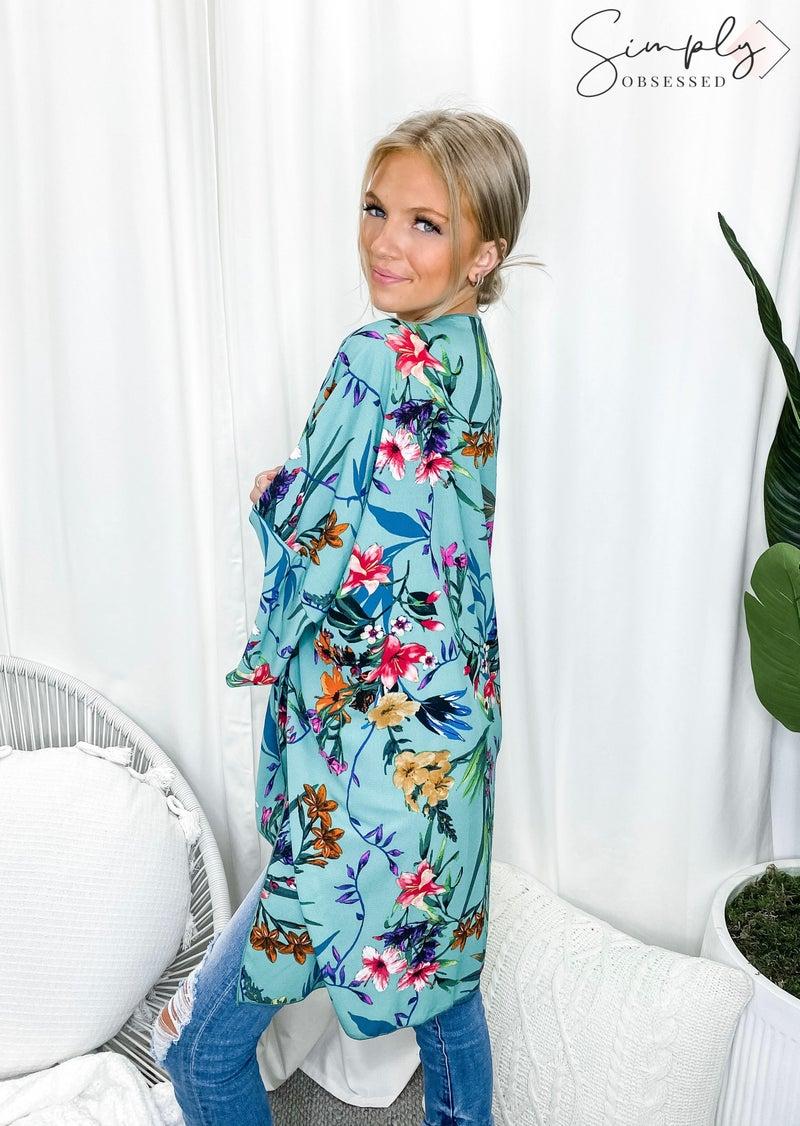 Vine & Love - Floral print open front kimono