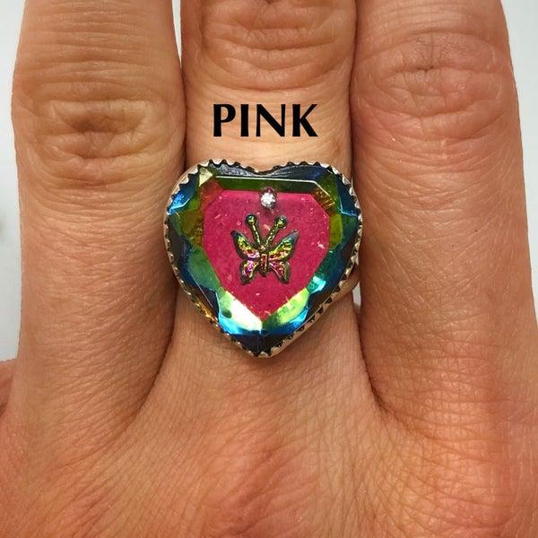 M&S Sterling Silver - European English Glitter Heart Rings