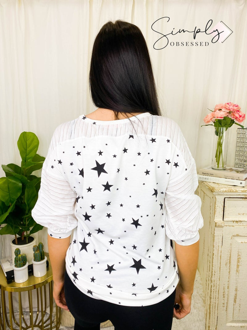 Hailey & Co - Star print round neck french terry top