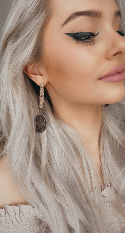 Upcycled Topaz Rhinestone Earrings