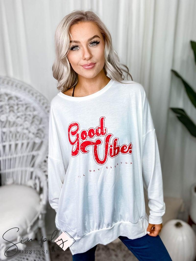 "Fantastic Fawn - ""Good Vibes"" Long sleeve graphic sweatshirt"