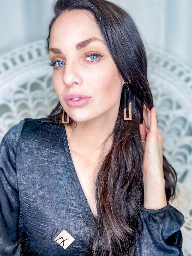Rectangular Wooden Earrings