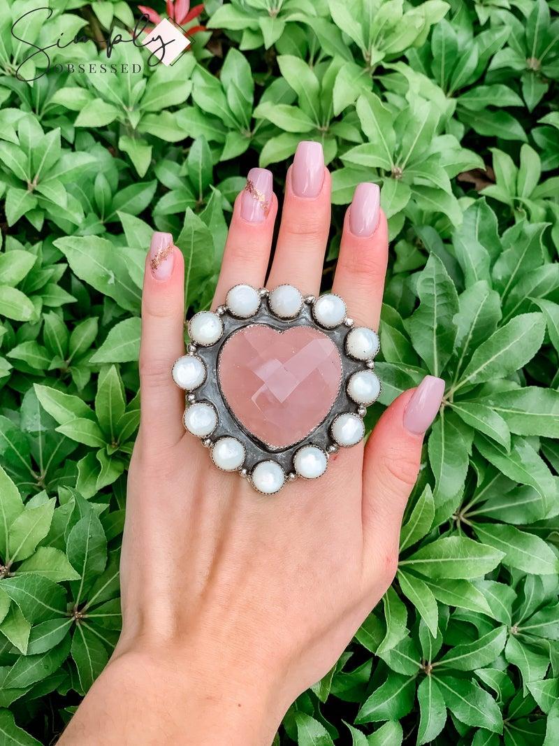 M & S - Rose Quartz Heart w/ MOP Ring