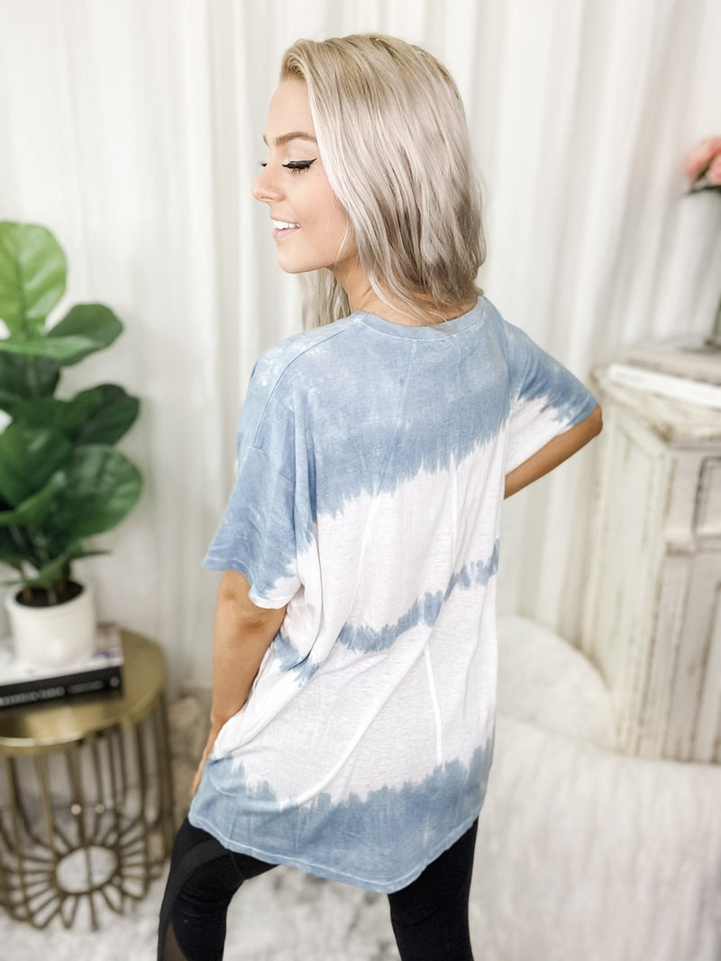 EASEL-Short Sleeve Wave Washed Knit Top