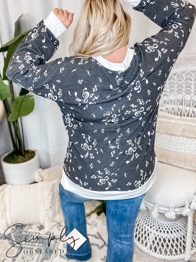 Sew In Love - V neck long sleeve rib lined sweater