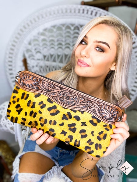 American Darling - Hand crafted leather work cheetah print bag