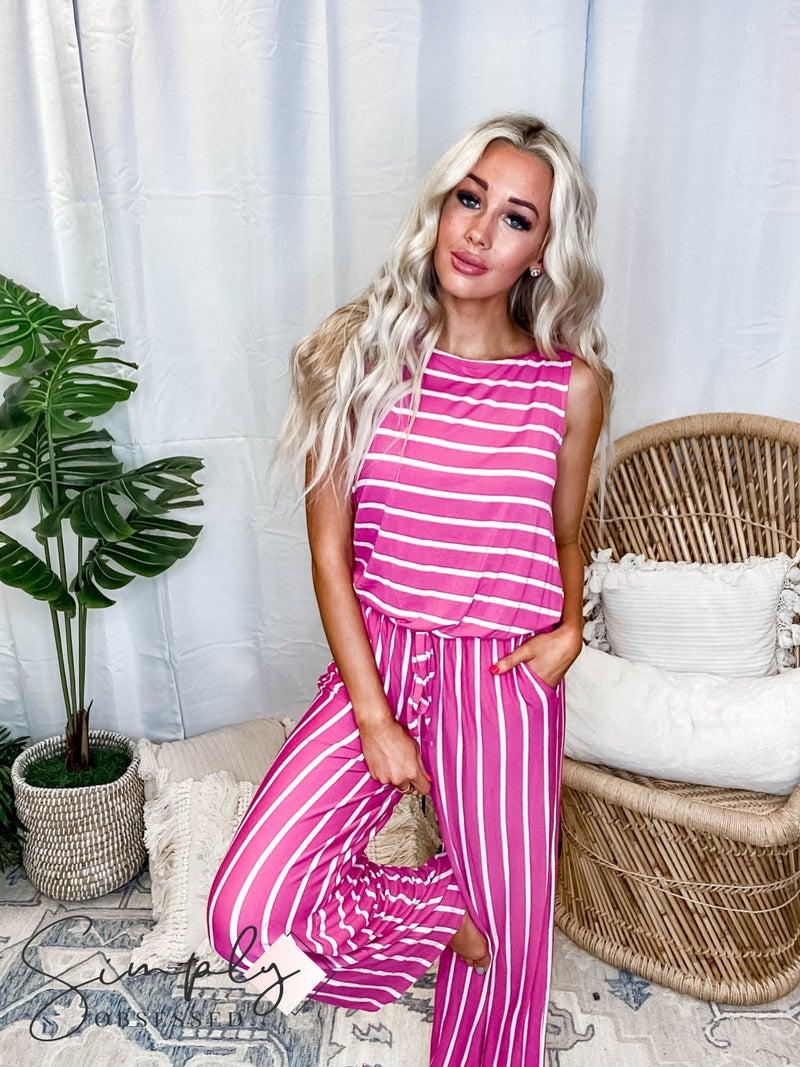 Zenana LA First Dibs - Stripe Sleeveless Jumpsuit w/ Pocket