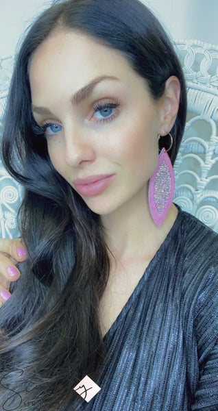 Gorgeous Leather earrings with studs and sparkle