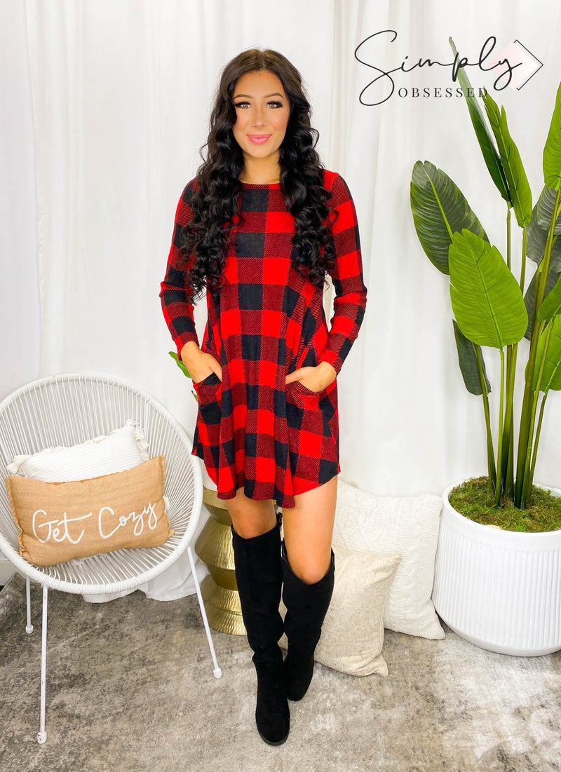 EMERALD-PLAID PRINTED SWING TUNIC DRESS WITH LONG SLEEVES AND SIDE POCKETS