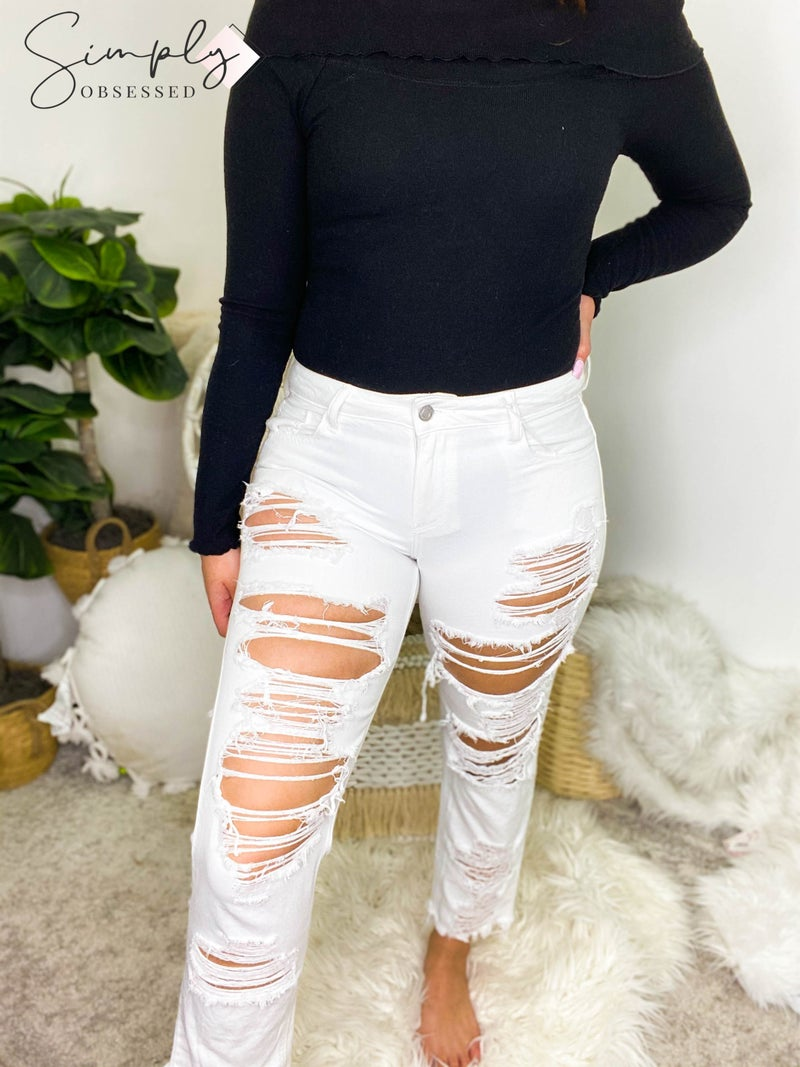 Cello - Mid Rise Distress BF Jeans with Raw Cut Hem