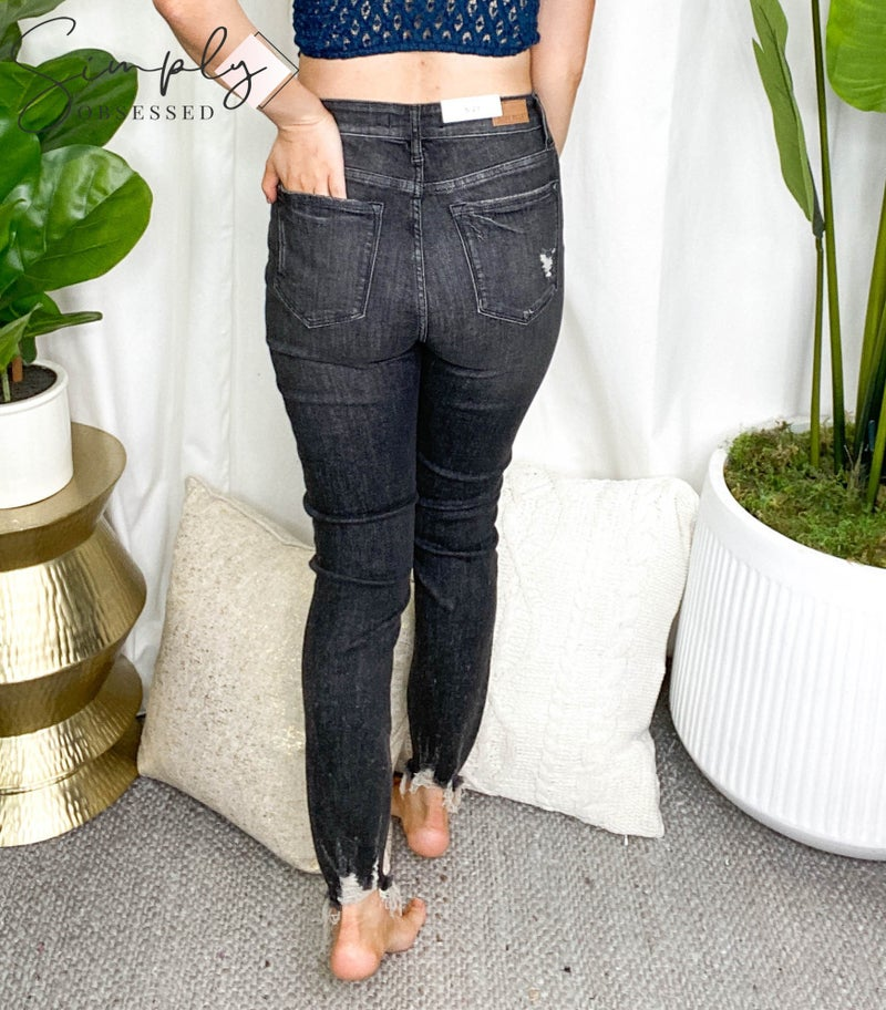 Judy Blue - High waist button fly distressed skinny jeans (all sizes)