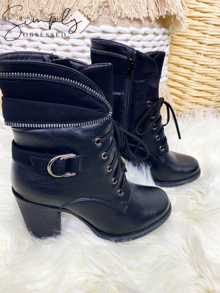 PIERRE DUMAS-HIGH HEELED BOOTS WITH SIDE ZIPPER AND FRONT LACE UP