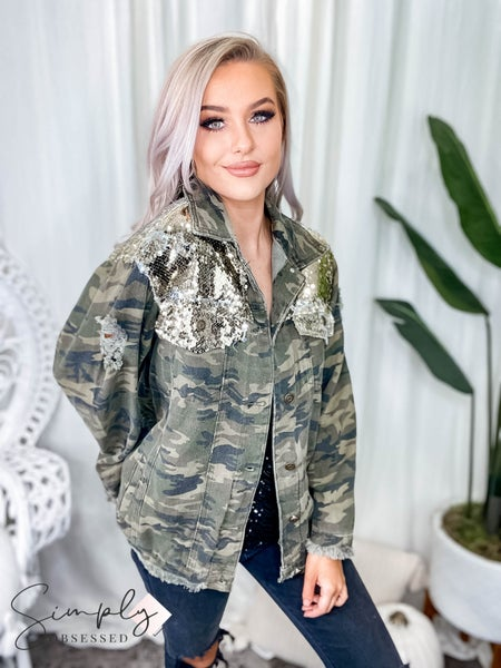 Lucky & Blessed- Distressed camo denim jacket with sequin detail