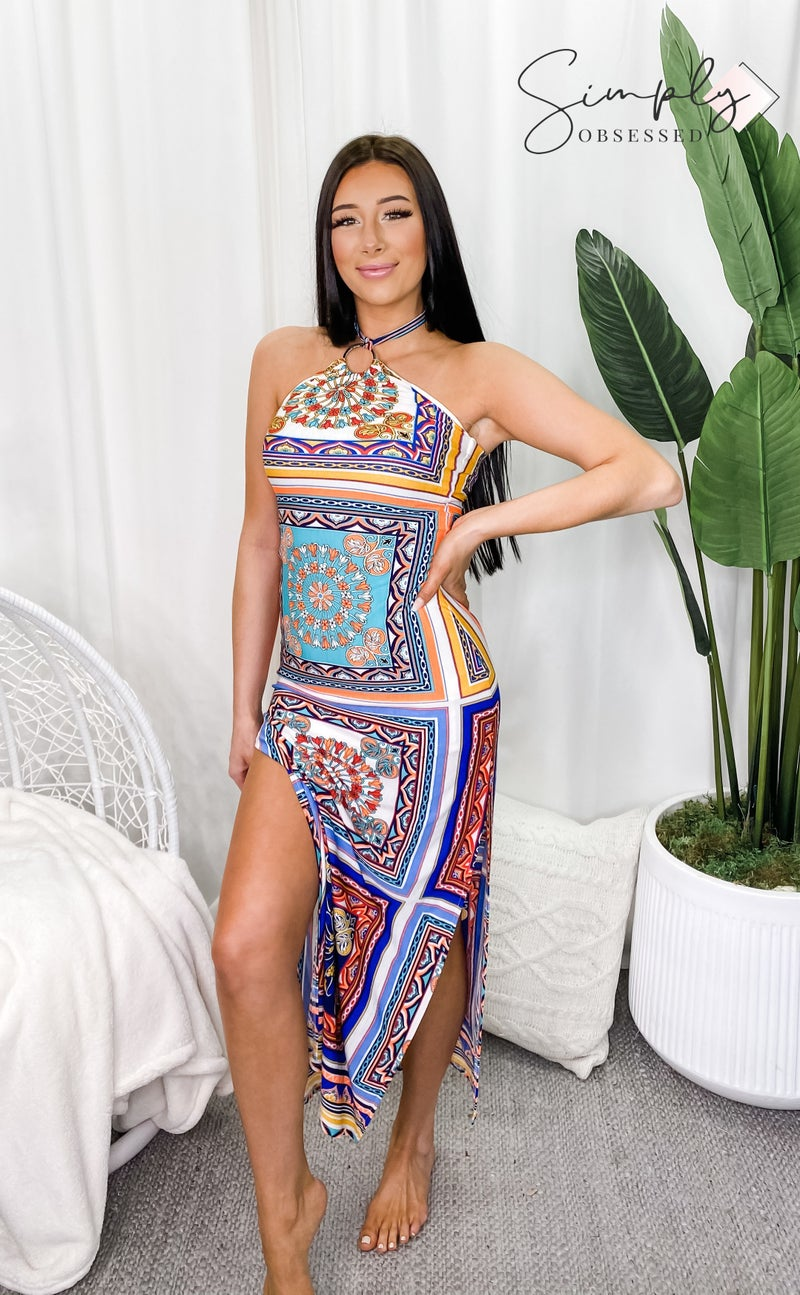 5BESTIES-Aztec Print Halter Neck Maxi Dress With Slit