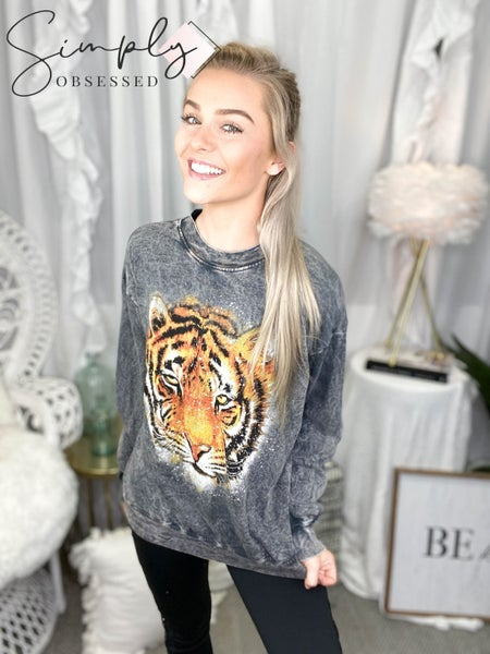 Trend Notes - Acid wash tiger face graphic long sleeve top
