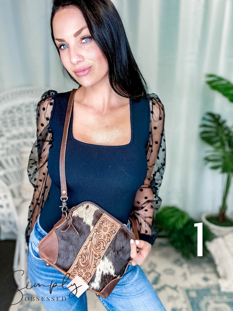 American Darling - Hand Tooled Floral Patch Hide Bag