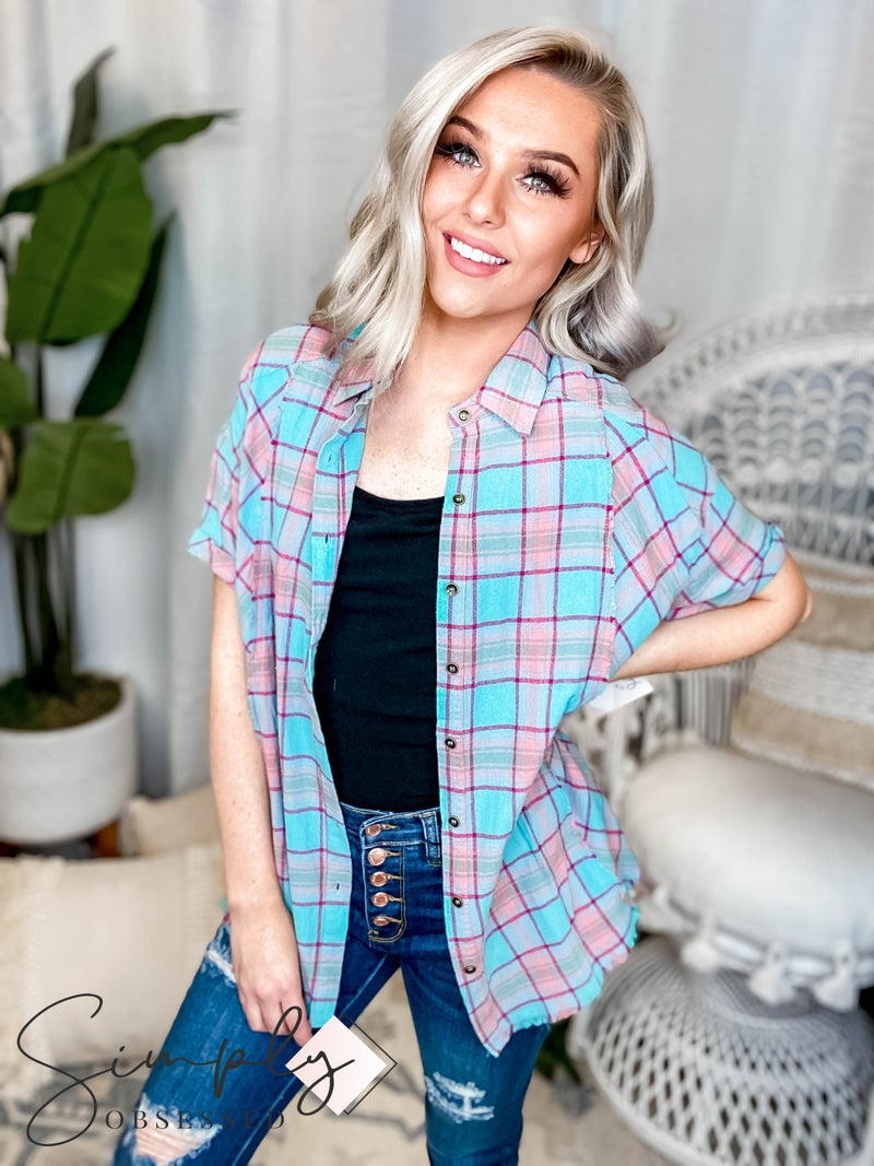 Easel - Plaid button down fray detail top