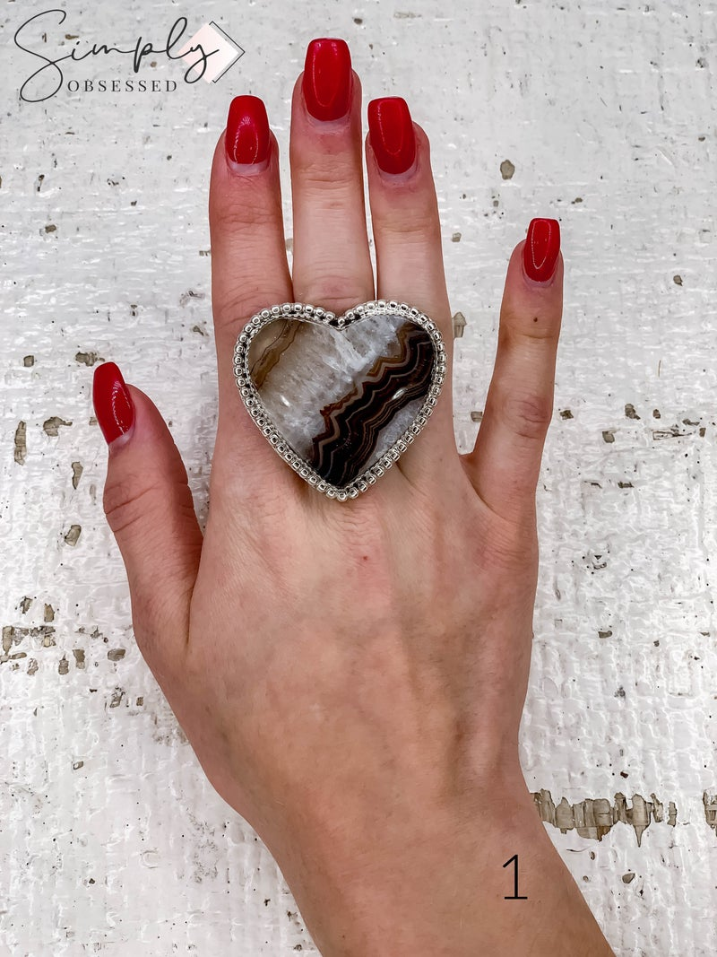 M & S - Banded Agate Heart Ring