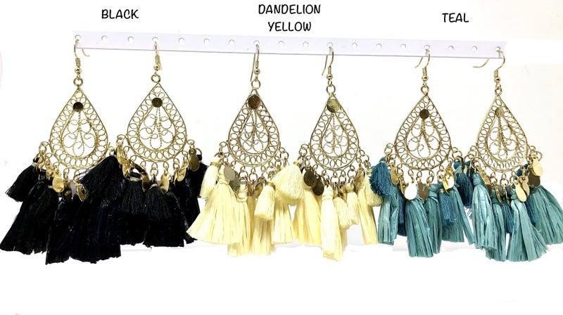 Filigree Teardrop Detail Earrings w/ Raffia Tassles