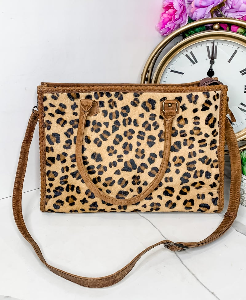 AMERICAN DARLING-LARGE CHEETAH BAG WITH STRAP AND LEATHER WORK
