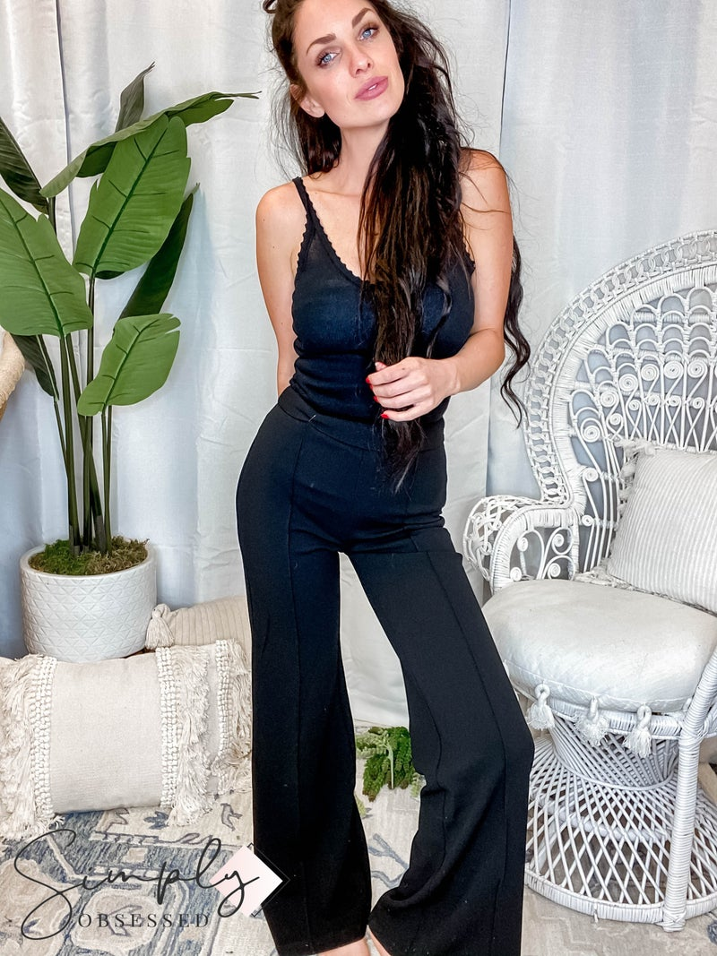 Flying Tomato - High waist textured wide leg pants with front seam