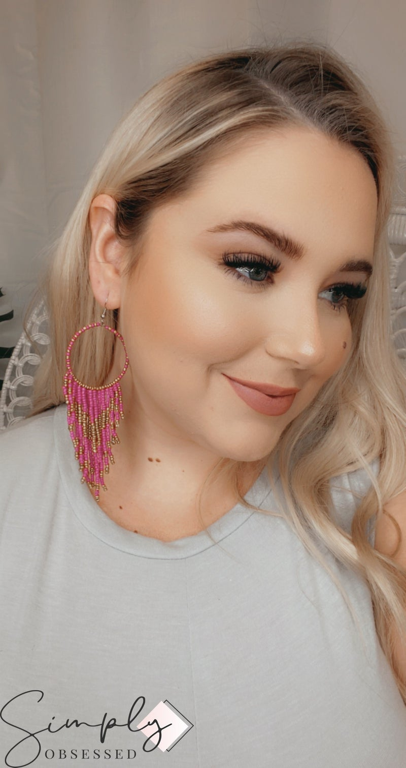 Handmade Beaded Tassel Hoop Earrings