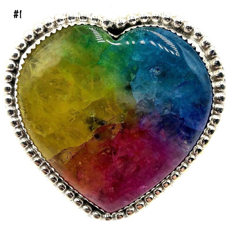 M & S - Rainbow Quartz Heart Ring