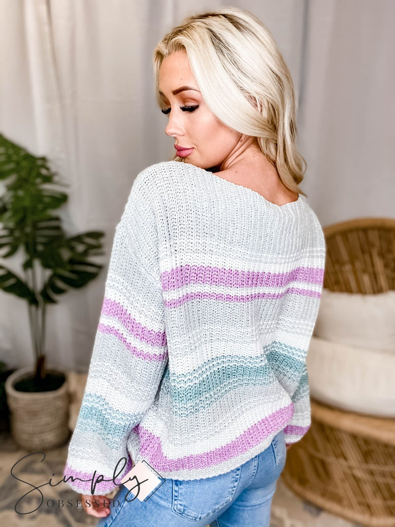 EE:Some - Off Shoulder Striped Sweater