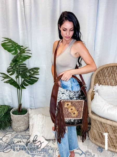 American Darling - Hand Carved Genuine Leather Tote Bag w/Flower Patch and Fringe Detail