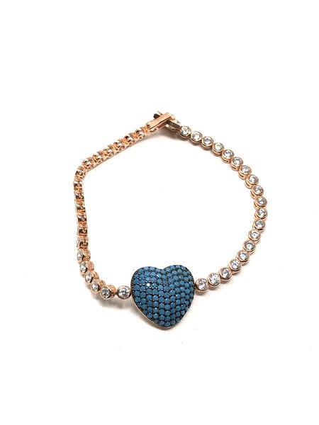 Rose Gold Silver Heart Bracelet