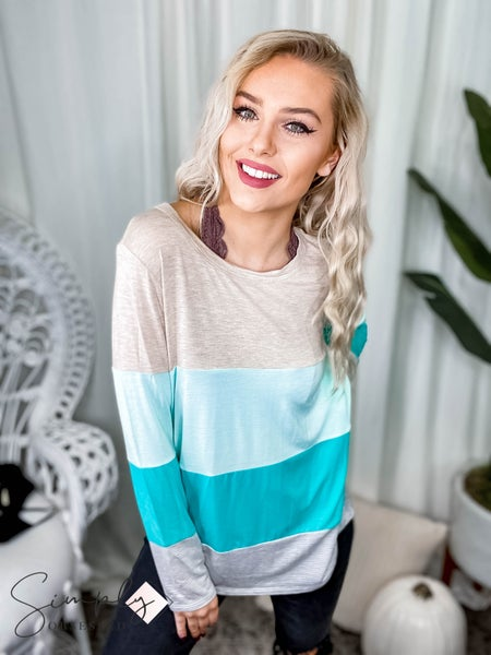 First Dibs Hailey & Co -  Long sleeve jersey color blocked top
