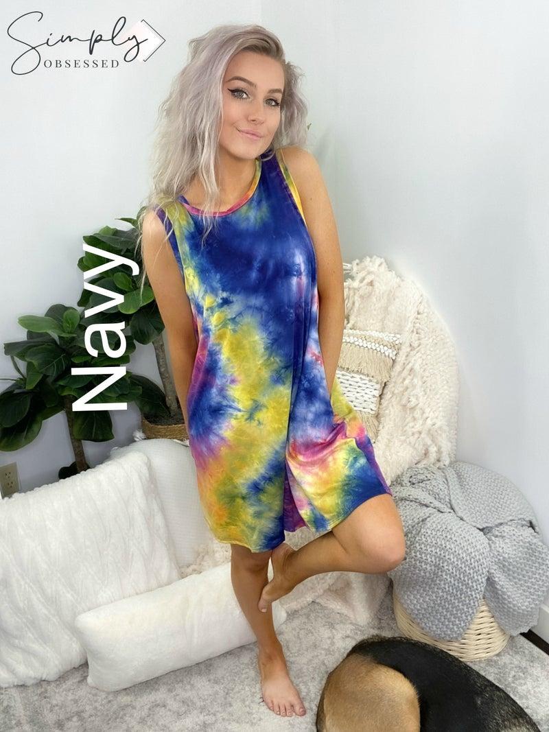 White Birch - Sleeveless tie dye knit dress