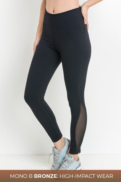 Mono B - High Waist Performance Mesh Panel Leggings