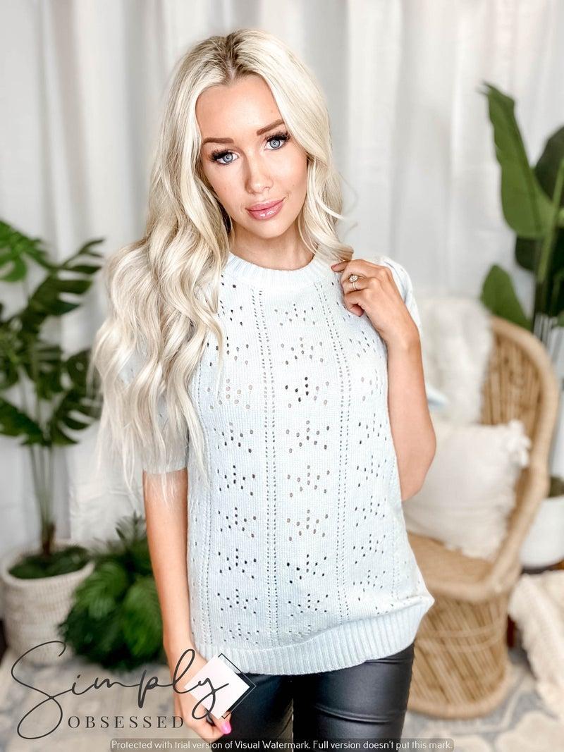 Doe & Rae - Puff sleeve knit sweater top