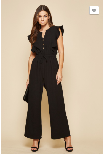 Andree by Unit - Drawstring detail jumpsuit with ruffle sleeves(plus)