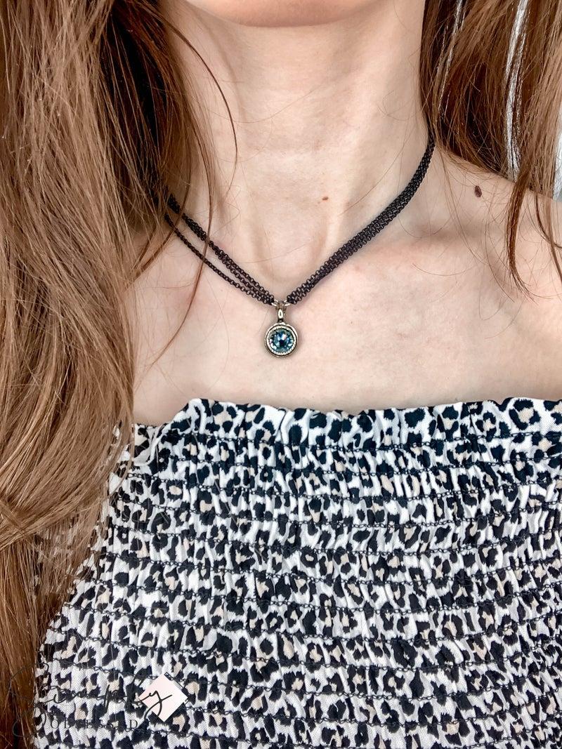 CV - Black Chain Crystal Drop Necklace