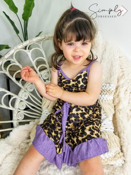 Honeydew-kids purple leopard ruffle overall romper