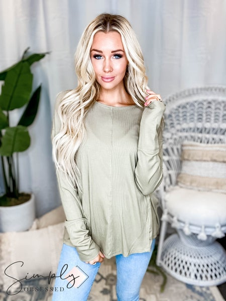Easel - Long sleeve round neck lightweight top