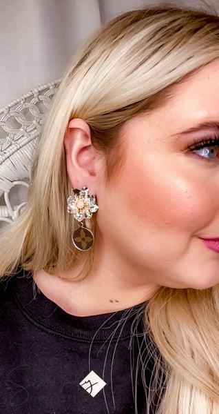 Up Cycled - Metal Flower LV Earrings