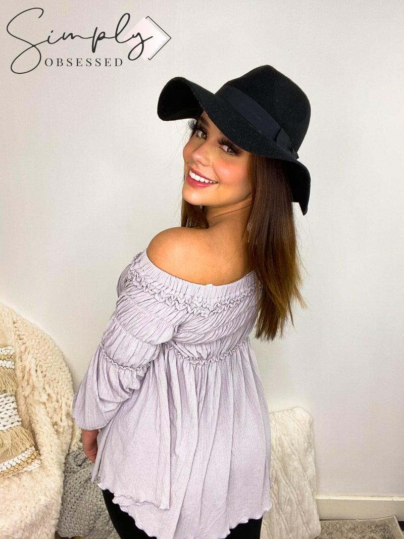 Allie Rose - Solid Off Shoulder Long Sleeve Top