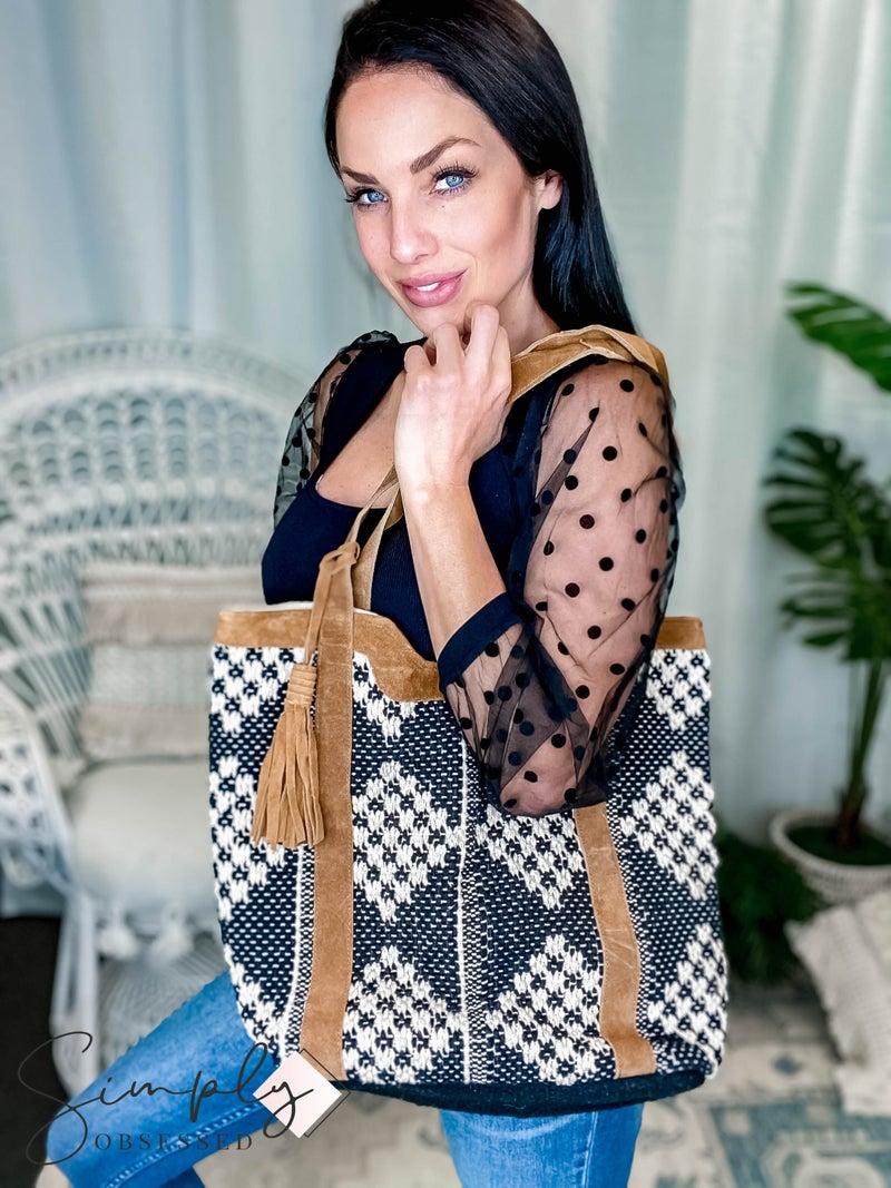 Chloe & Lex - Leather Trimmed Diamond Tote Bag
