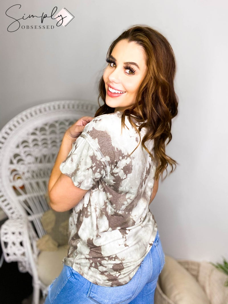 Sew In Love - Short sleeve tie dye scoop neck top with pocket (all sizes)