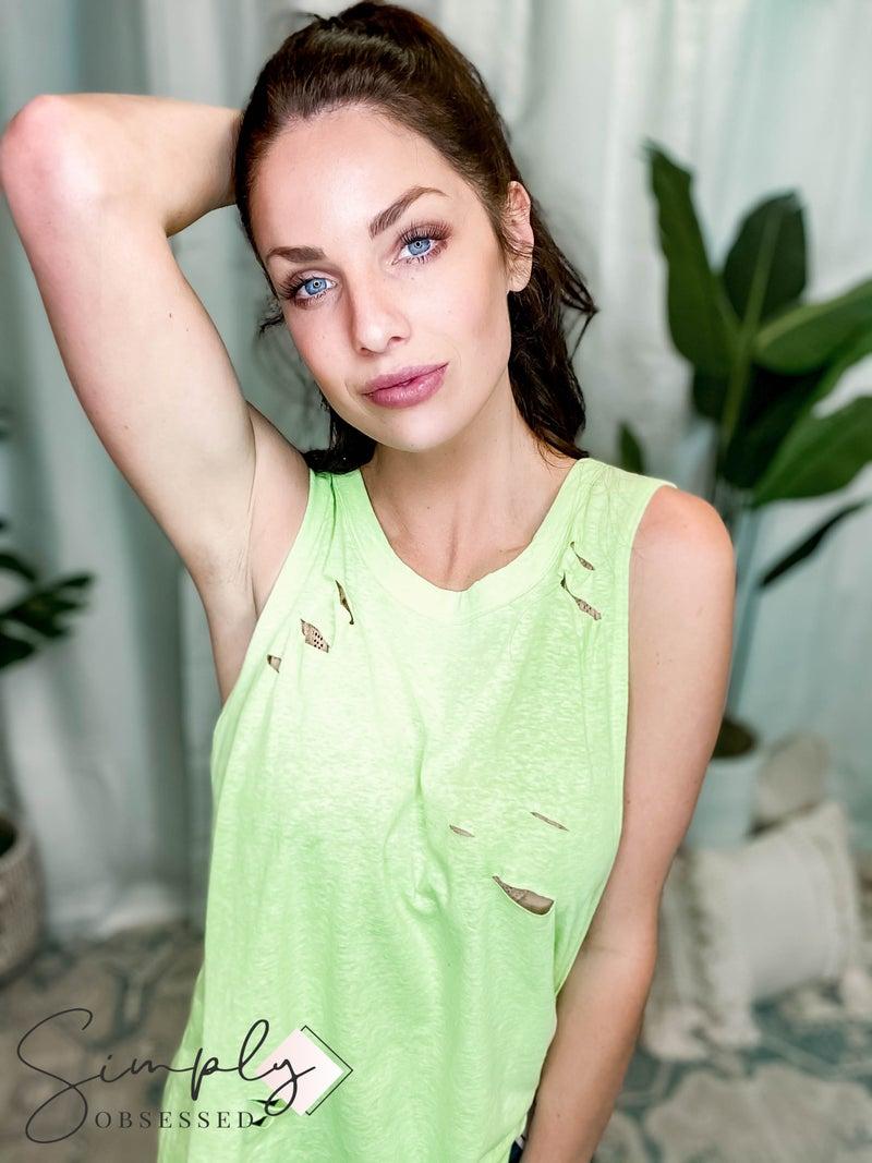 Rae Mode - Distressed Tri-blend Sleeveless Knit Top