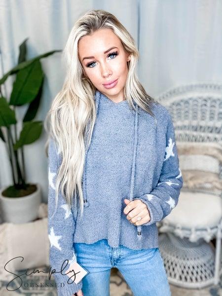 Pol - Star print hoodie detail sweater