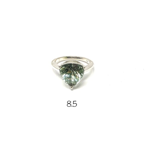 Trillion stone Prasiolite (Green Amethyst) Ring
