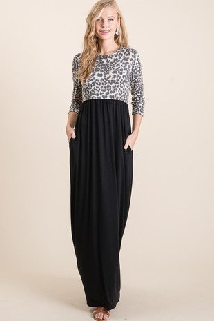 Vanilla Bay - 3/4 Sleeve leopard print contrast maxi dress